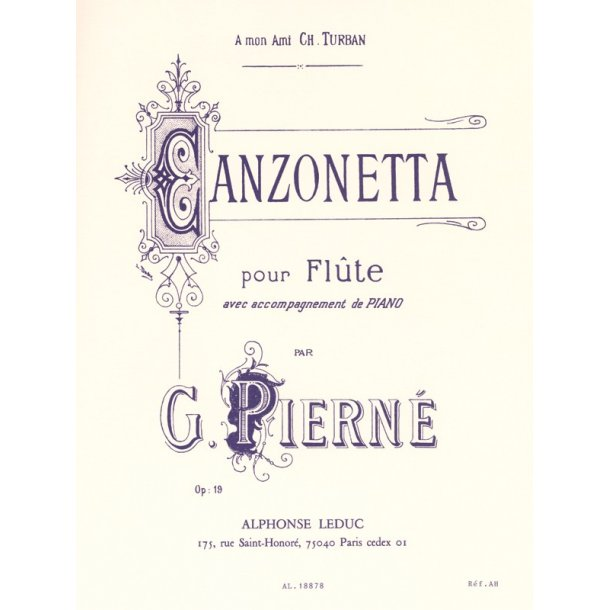 Gabriel Pierné: Canzonetta Op.19 (Flute & Piano)
