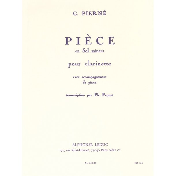 Gabriel Pierné: Pièce in G minor (Clarinet)