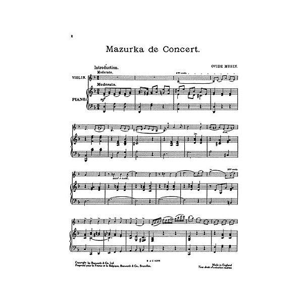 Musin, O Mazurka De Concert Vln/Pf