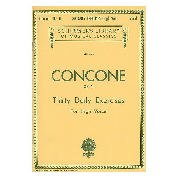 Giuseppe Concone: Thirty Daily Exercises Op.11 For High Voice