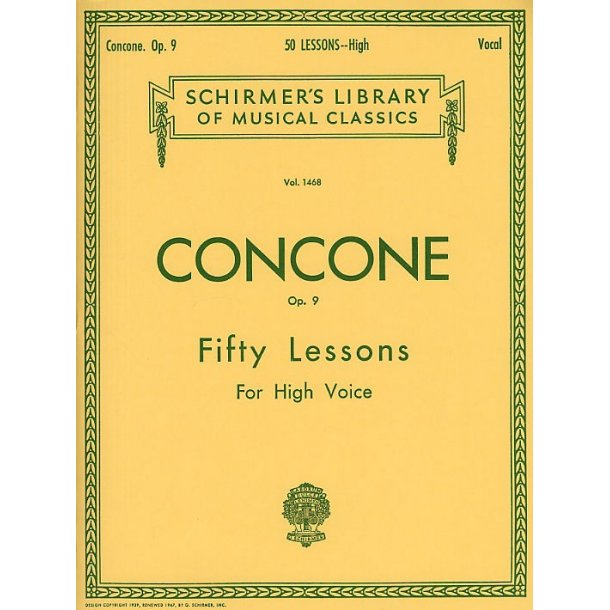 Giuseppe Concone: Fifty Lessons For High Voice Op.9