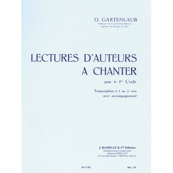 Gartenlaub Lectures D'auteurs A Chanter Cycle 1 1 Or 2 Voices Book