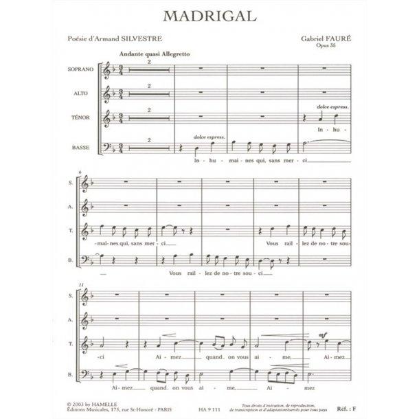 Gabriel Fauré: Madrigal Op.35 (TB Chorus Part) (Choral-Mixed accompanied)