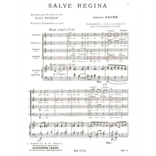 Gabriel Fauré: Salve Regina Op.67, No.1 (Choral-Mixed accompanied)