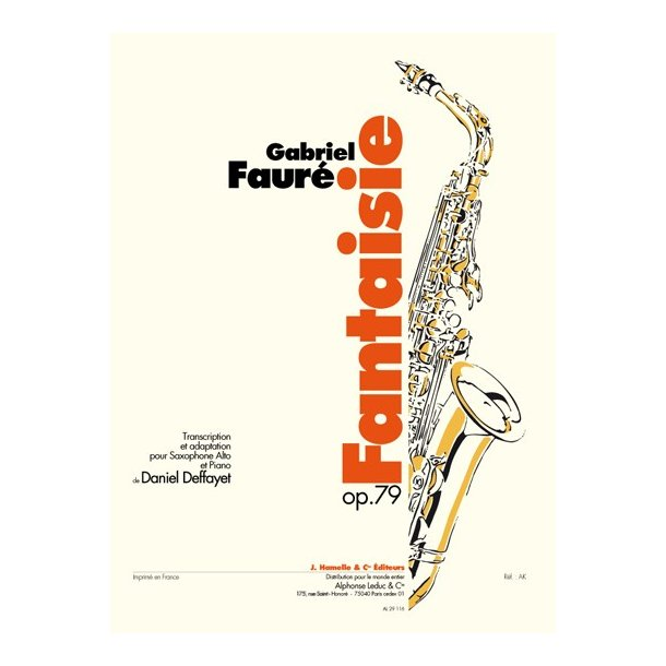 Gabriel Fauré: Fantaisie Op.79 (Saxophone-Alto & Piano)