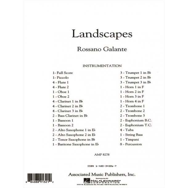 Galante Rossano Landscapes Full Score Only
