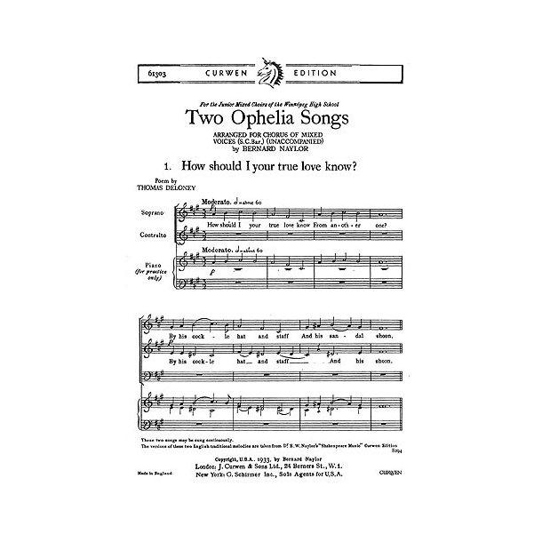 Naylor Two Ophelia Songs Sa
