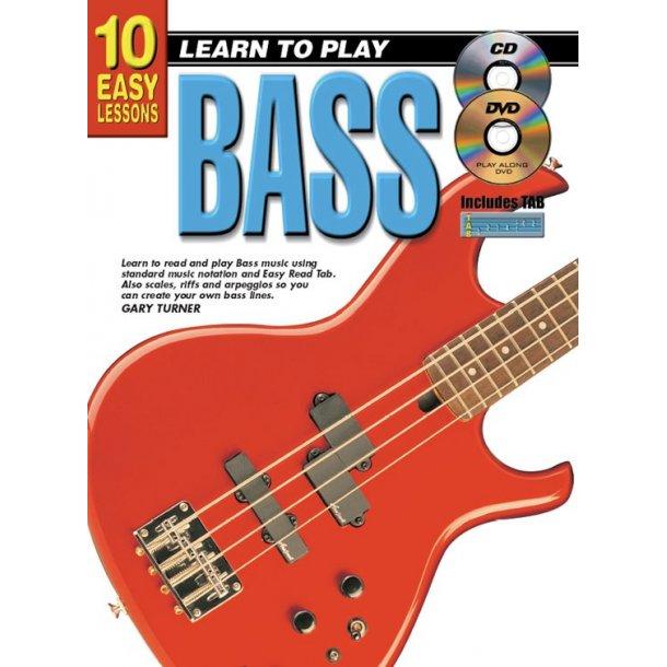 10 Easy Lessons Bass Bgtr Bk/Cd/Dvd