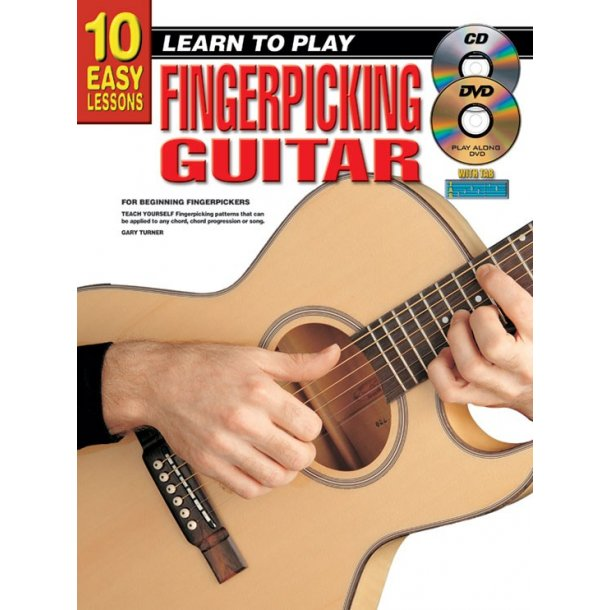 10 Easy Lessons Finger Gtr Bk/Cd/Dvd