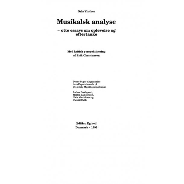 MUSIKALSK ANALYSE