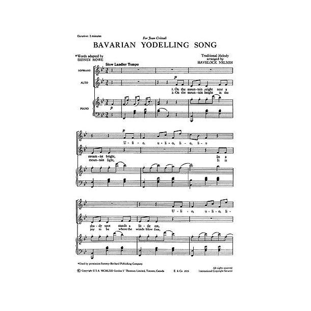 Nelson, H Bavarian Yodelling Song Sa/Piano