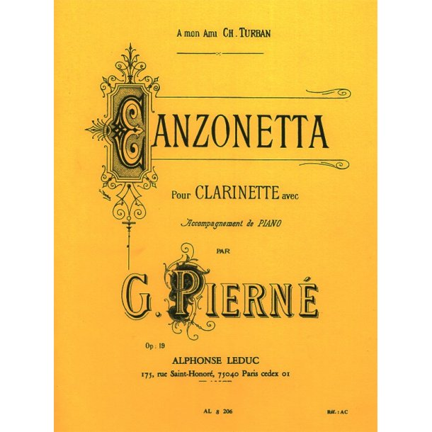 Gabriel Pierné: Canzonetta For Clarinet And Piano Op.19