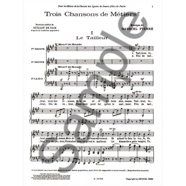 Gabriel Pierné: 3 Chansons de Métier (med) (Voice & Piano)