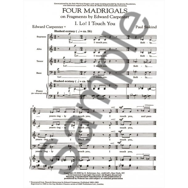 Paul Siskind: Four Madrigals