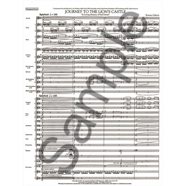 Galante Rossano Journey To The Lions Castle Full Score Only