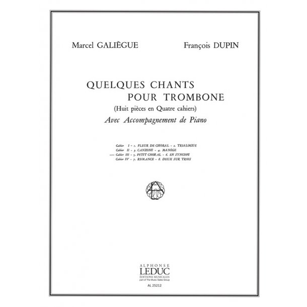 Galiegue Quelques Chants Vol 3 Petit Choral En Syncope Tbn & Pf Bk