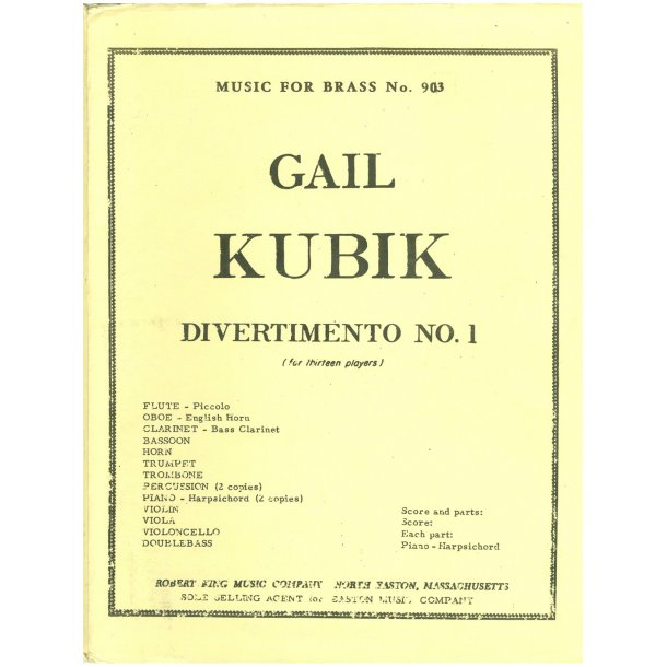 Gail Kubik: Divertimento No.1 (Ensemble-Mixed 8 or more)
