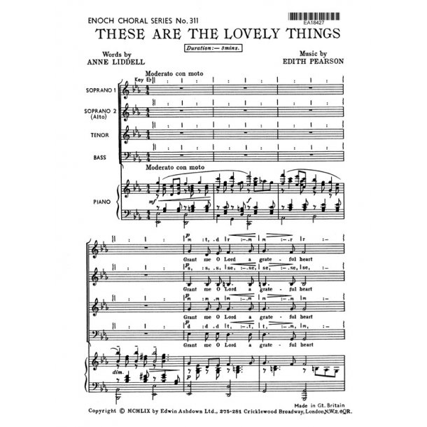 Pearson, E These Are The Lovely Things Satb/Pf