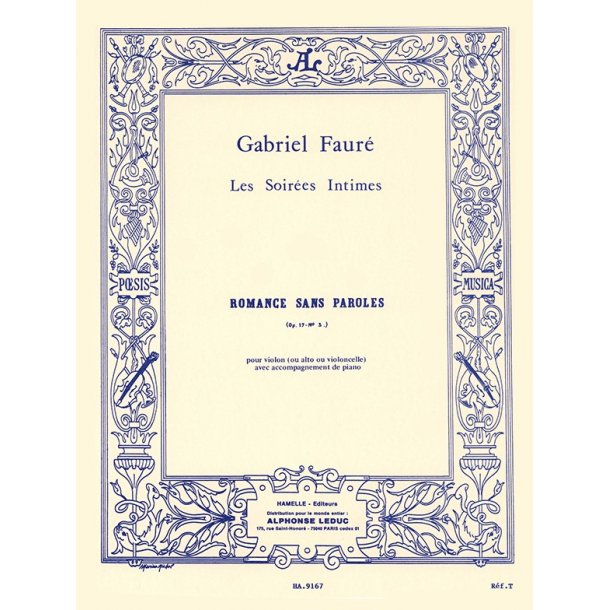 Gabriel Fauré: Romance sans Paroles Op.17 No.3 (Violin and Piano)