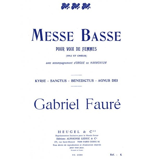 Gabriel Fauré: Messe basse (Choral-Female accompanied)