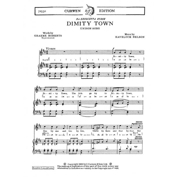 Nelson, H Dimity Town Unison/Piano