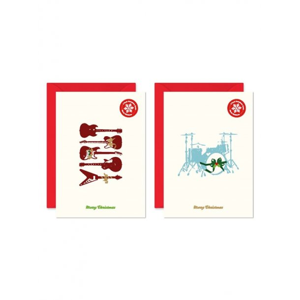 My World Xmas Card - Pack Of 6 - Guitar/Drum