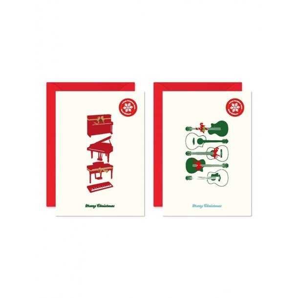 My World Xmas Card - Pack Of 6 - Guitar/Piano