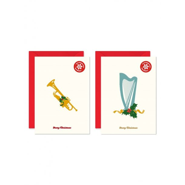My World Xmas Card - Pack Of 6 - Harp/Trumpet
