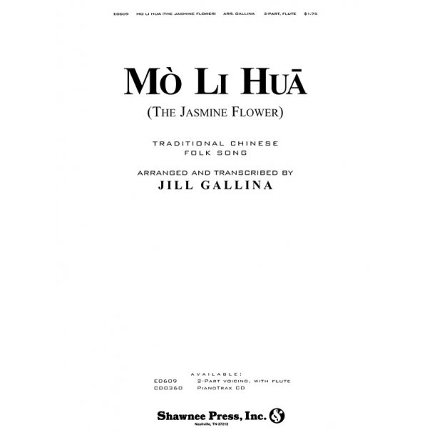 GALLINA MO LI HUA (THE JASMINE FLOWER) 2 PART, FLUTE